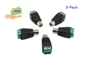 CERRXIAN 5-Pack Phono RCA Female Jack to AV Screw Terminal Audio/Video Connector Adapter