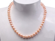 JYX 9mm Classic Freshwater Natural Pink Round Pearl Necklace Strand 18""