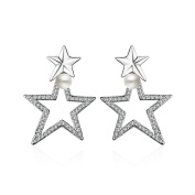 Onefeart White Gold Plated Drop Earrings Double Star Shape for Women Cubic Zirconia Pearl 23x31MM Silver