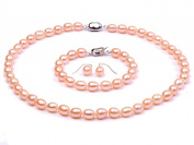 JYX Rice-shaped Freshwater Pearl Necklace Bracelet and Earrings Set