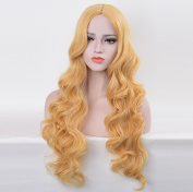 Aukmla Wigs Golden Yellow Full Curly Medium Hair Wig Natural Colour Daily Dress-70cm