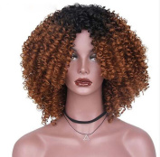 RY@ HAIR Afro Curly Curly Long Synthetic Wigs for Women High Temperature Black Hair Fibre None Bow