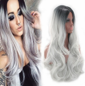 Aukmla Wigs for Women Synthetic Long Curly Wave Ombre Fluffy Wig Two Tones Black Rooted Grey Heat Resistant Cheap Head Wigs Cosplay