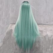 Aukmla Ladies Wigs Straight Mint Green Gradient Ombre Sysnthetic Wigs for Cosplay Cheap High Quality Hair Long Wig