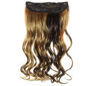 HAIR2HEART Clip In Hair Extensions 130g weight, Corrugated, 1 Black