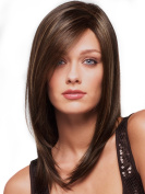 Womens Long wavy 2 Tones Brown mix skin top Straight Wig Hair