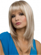 Women Synthetic Cosplay Wig Girls White And Light Gold Mixed Natural Straight Long Hair
