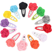 Dooppa 13PCS Rose Baby Girls Hair Clips Snap Alligator Clips Barrettes