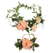CHUANGLI Fashion Simulation Floral Crown Party Wedding Hair Flower Wreaths Hair Bands and Wrist Flower Set 2PCS
