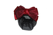 GIZZY Ladies, Girls Dark Red Patterned Satin Double Bow Barette Hair Slide with Bun Net.