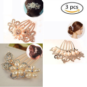 Women Hair Clip Comb Crystal Rhinestones Pearls Hair Side Combs Slides Grips 3Pcs