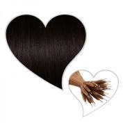 25 Nano Ring Hair Extensions 35 cm Dark Brown Colour # 1B