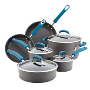 Rachael Ray 87650 10 Piece Hard-Anodized Aluminium Nonstick Cookware Set with Marine Blue Handles, One Size, Grey