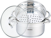 3 Piece Steamer Set Stainless Steel Induction 18 cm, 2.5 Litre