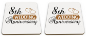 Pair of Wedding Anniversary (8th Bronze) - Two Hearts Novelty Glossy Mug Coasters