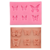 Mr.S Shop 3D Silicone Mould Butterfly Shapes Mould 6 Cavities For Soap Candy Chocolate ICE Cake Moulds