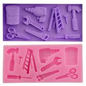 Mr.S Shop 3D Hardware Spanner Scissors Saw Ladder Silicone Fondant Moulds Cake Decorating Tools Candy Chocolate Gumpaste Moulds