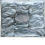 SILK MERINO Fibre for Spinning. Super Soft Combed Top Wool Roving for Hand Spinning, Wet Felting, Nuno Felting, Needle Felting, Soap Making, Paper Making and Embellishments. Silver Lining