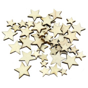 100Pcs Star Shape Wood Slices Wedding Table Scatter Decoration for DIY Crafts Embellishments, 4 Mixed Size