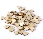 100Pcs Love Heart Blank Wood Slices Discs Wedding Table Scatter Decoration for DIY Crafts Embellishments