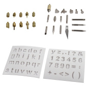 28pc Wood Working & Assorted Soldering Tips Wood Burning Stencil Hobby Craft Set