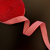 1.9cm Wide Classic Chequered Ribbon, Cotton ribbon Selling Per Roll/25 yards Colour Red with White