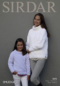 Sirdar Ladies & Girls Sweaters Smudge Knitting Pattern 7870 Chunky