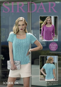 Sirdar Ladies Tops Soukie Knitting Pattern 7929 DK