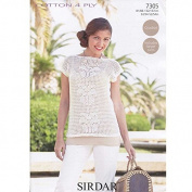 Sirdar Ladies Top Cotton Crochet Pattern 7305 4 Ply