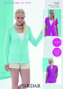 Sirdar Ladies Cardigans Cotton Crochet Pattern 7747 4 Ply