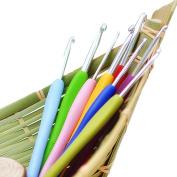2.5-6mm Plastic Muticolor Soft Handle Aluminium Crochet Hooks Knitting Needdles Set,pack of 8