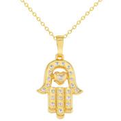 Gold Tone Clear CZ Heart Hamsa Hand Pendant Protection Necklace Amulet 48cm