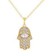 14k Gold Plated Judaica Hamsa Hand of Fatima Pendant Jewish Necklace 48cm