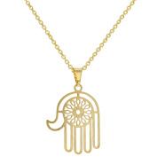 18k Gold Plated Jewish Hamsa Hand Good Luck Amulet Necklace 48cm