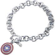 Marvel Women's Stainless Steel Captain America Shield Bling Charm Bracelet