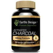 Activated Charcoal 300mg - Suitable for Vegetarians - 90 Capsules (3 Months Supply) by Earths Design