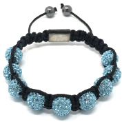 Shimla Bracelet with Azzore Blue fireballs beads made with Czech crystals size small 9 beads, adjustable size
