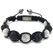 Shimla Bracelet with Black and White fireballs beads made with Czech crystals size small 9 beads, adjustable size