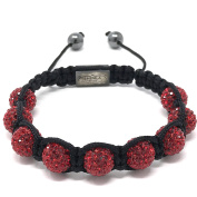 Shimla Bracelet with Red fireballs beads made with Czech crystals size small 9 beads, adjustable size