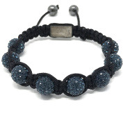 Shimla Bracelet with Midnight Blue fireballs beads made with Czech crystals size small 9 beads, adjustable size