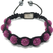 Shimla Bracelet with Fuchsia fireballs beads made with Czech crystals size small 9 beads, adjustable size