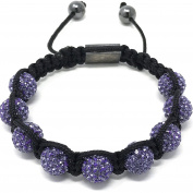 Shimla Bracelet with purple Amethyst fireballs beads made with Czech crystals size small 9 beads, adjustable size
