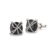 Mateo NYC Sterling Silver Captive Cufflinks with Onyx