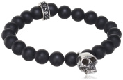 King Baby Unisex 925 Sterling Silver Skull Charm and Black Onyx Bead Bracelet