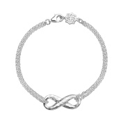 DOWER & HALL Entwined Sterling Silver Infinity Double Chain Bracelet of 18.5cm