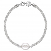 DOWER & HALL Pearlicious 10mm White Oval Pearl Double Chain Bracelet of 18.5cm