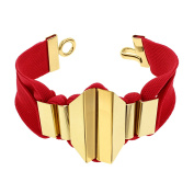 Marion Vidal Geometric Red Polyester Ribbon with Golden Brass Bracelet