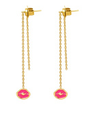 Maria Francesca Pepe Gold Plated Brass Pink Kiss Stamp Charms Drop Earrings
