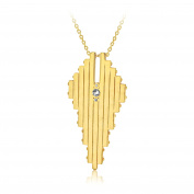 Charlotte Valkeniers Women's Gold Plated Round Clear Crystals Stylus Pendant Necklace of Length 62cm
