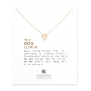 Dogeared 14 ct Gold Plated The Dog Lover Chevron Heart Necklace of Length 45.72 cm